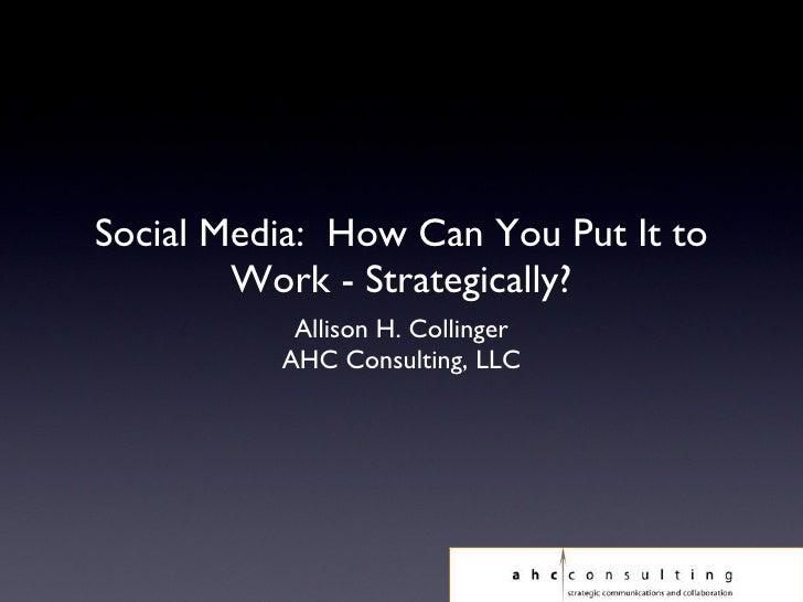 Social Media: Strategic Approach