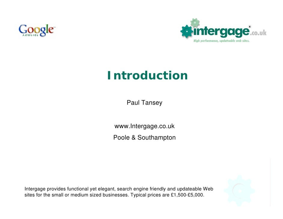 Introduction                                               Paul Tansey                                           www.Inter...