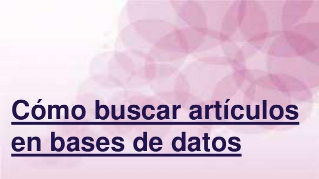 Cómo buscar artículos en bases de datos