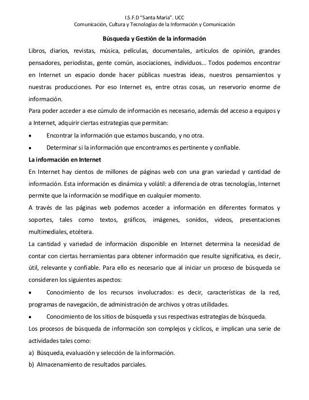 """I.S.F.D """"Santa María"""". UCC                 Comunicación, Cultura y Tecnologías de la Información y Comunicación           ..."""