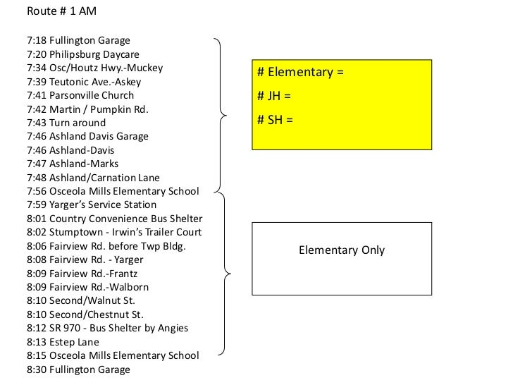 Route # 1 AM <br />7:18 Fullington Garage <br />7:20 Philipsburg Daycare <br />7:34 Osc/Houtz Hwy.-Muckey<br />7:39 Teuton...