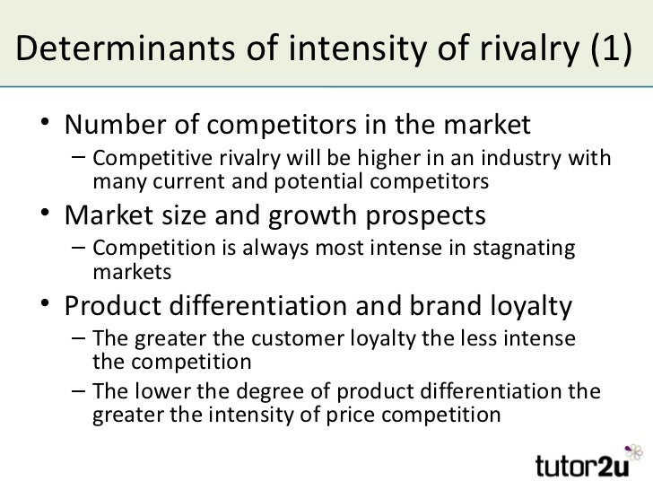 intensity of competitive rivalry in the industry The impact of competitive intensity on future profitability porter (1979) famously identifies five sources of competitive intensity in an industry threat of substitutes, competitive rivalry, bargaining power of customers, and bargaining power of suppliers) a resource.