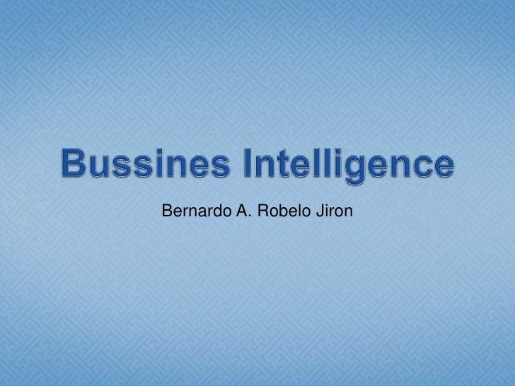 Bussines Intelligence<br />Bernardo A. RobeloJiron<br />