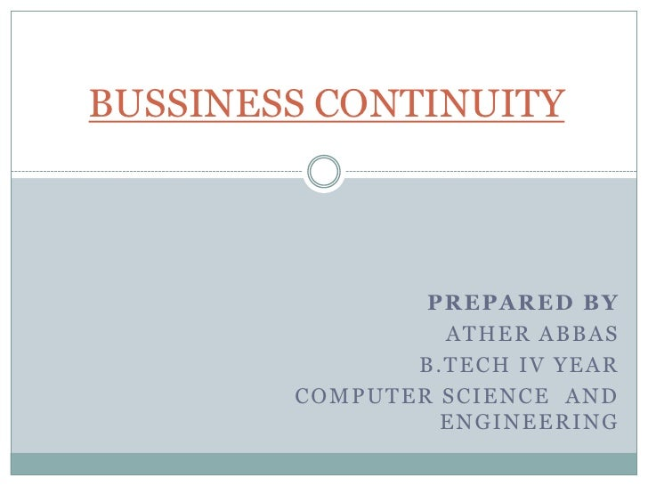 Bussiness continuity