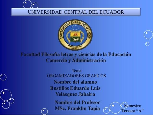 UNIVERSIDAD CENTRAL DEL ECUADORFacultad Filosofía letras y ciencias de la Educación           Comercia y Administración   ...