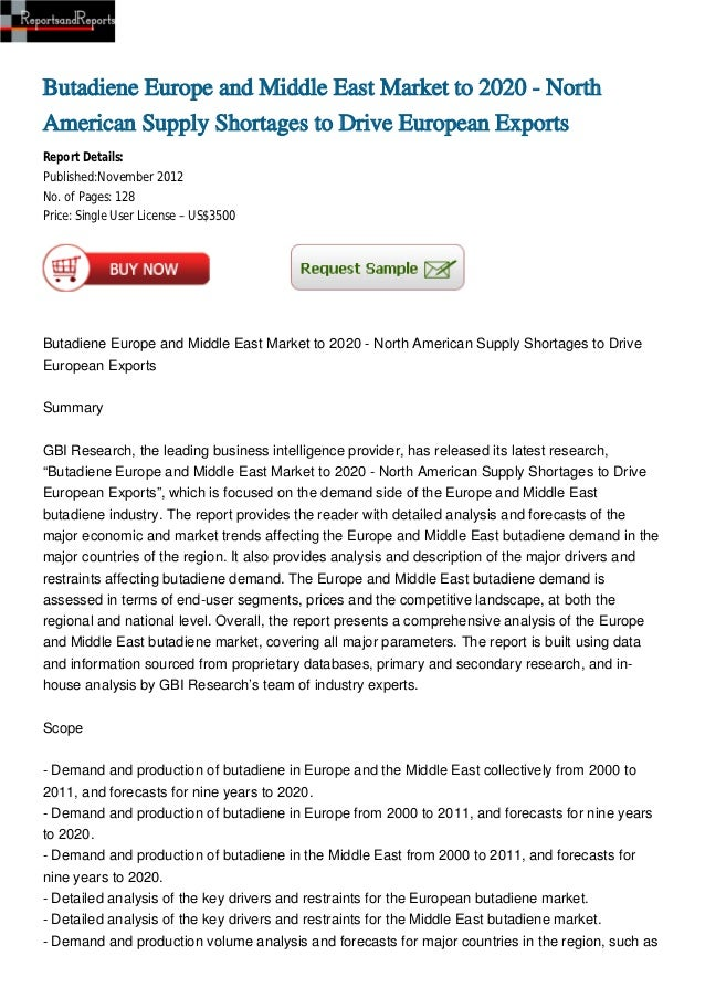 Butadiene Europe and Middle East Market to 2020 - North American Supply Shortages to Drive European Exports