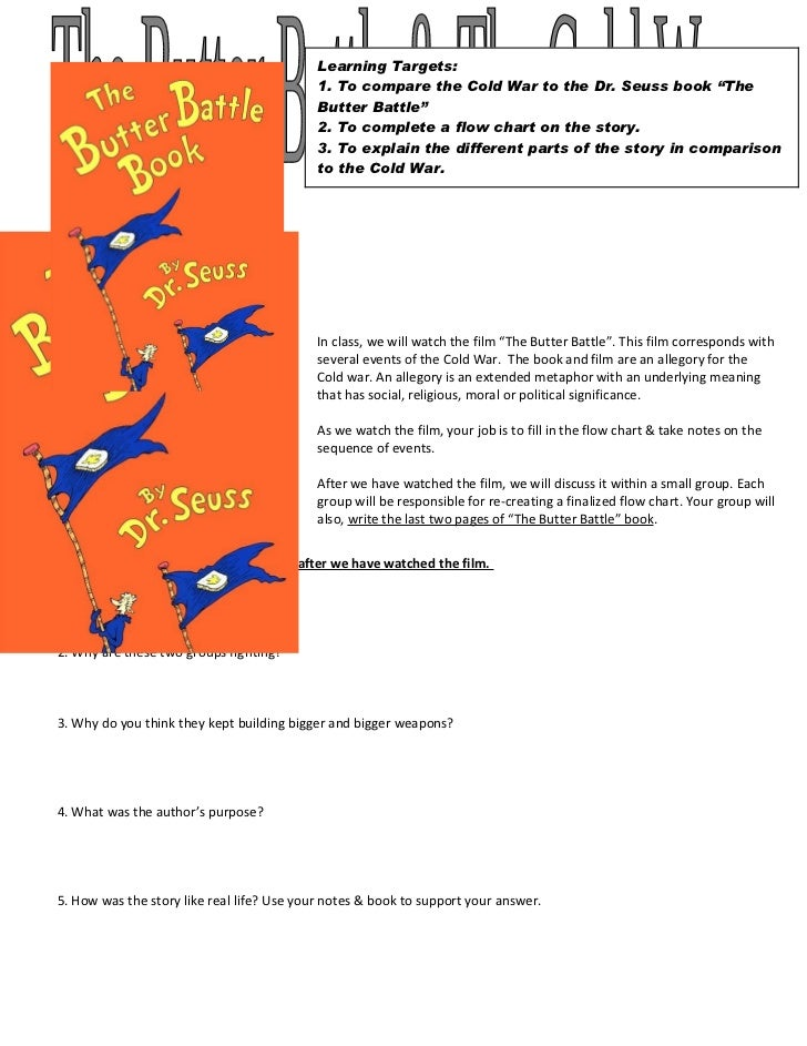 """Learning Targets:                                            1. To compare the Cold War to the Dr. Seuss book """"The        ..."""