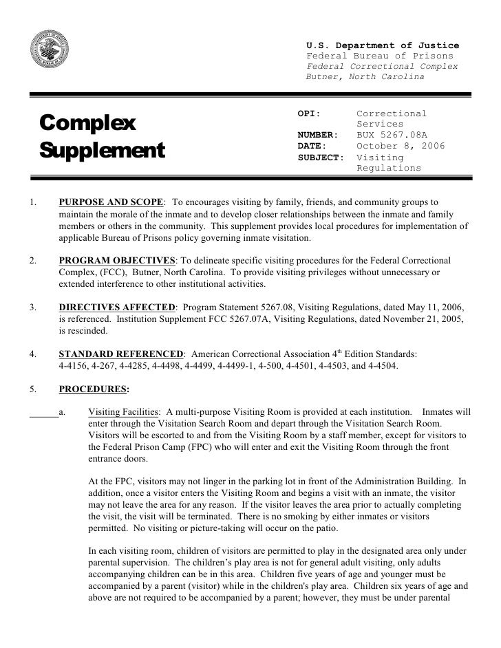 FindLaw | Butner, North Carolina Federal Correctional Complex Visiting Regulations