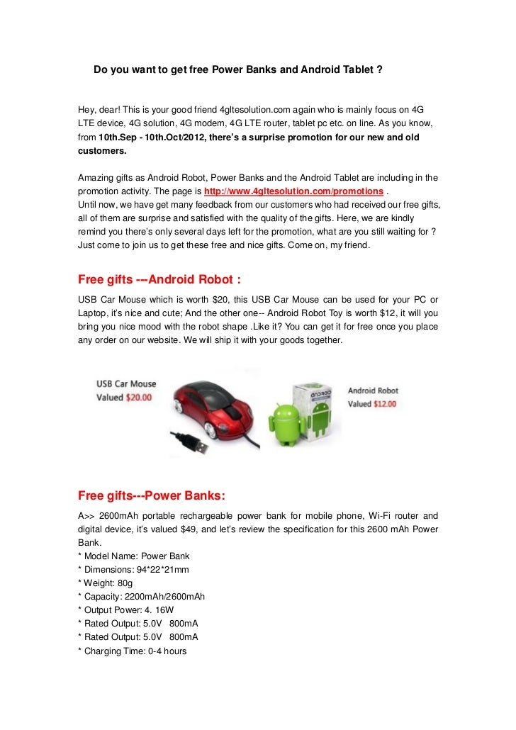 Do you want to get free Power Banks and Android Tablet ?Hey, dear! This is your good friend 4gltesolution.com again who is...