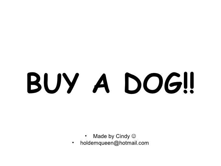 BUY A DOG!! <ul><li>Made by Cindy   </li></ul><ul><li>[email_address] </li></ul>