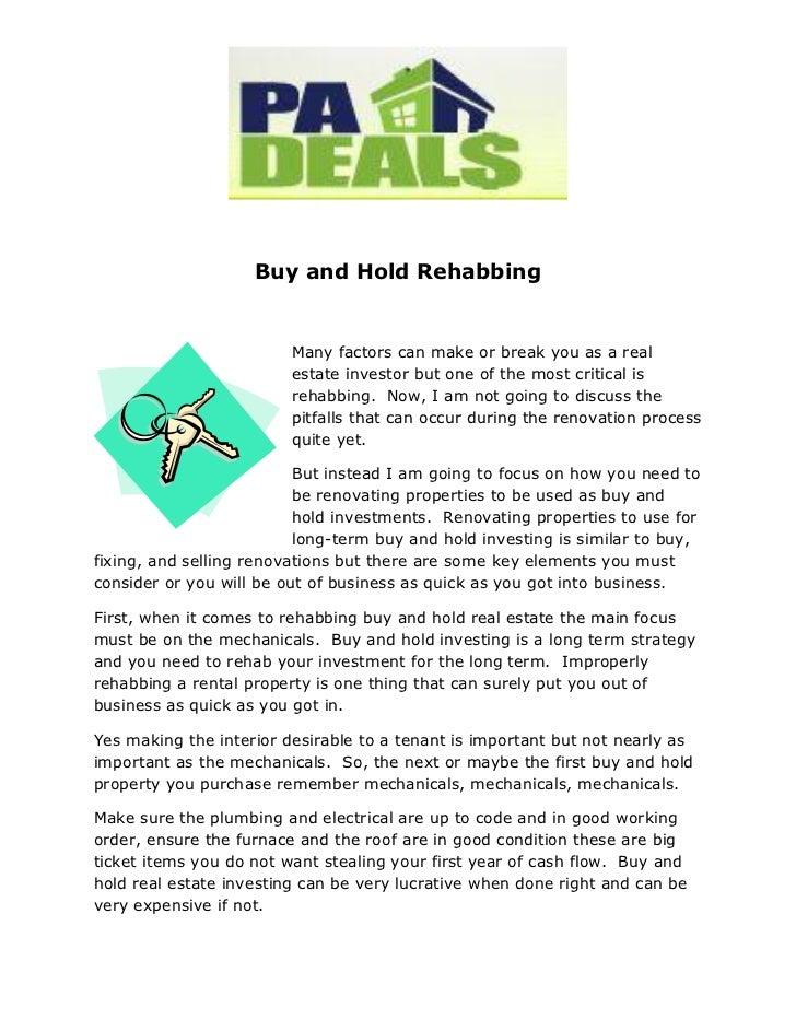 Buy and Hold Rehabbing