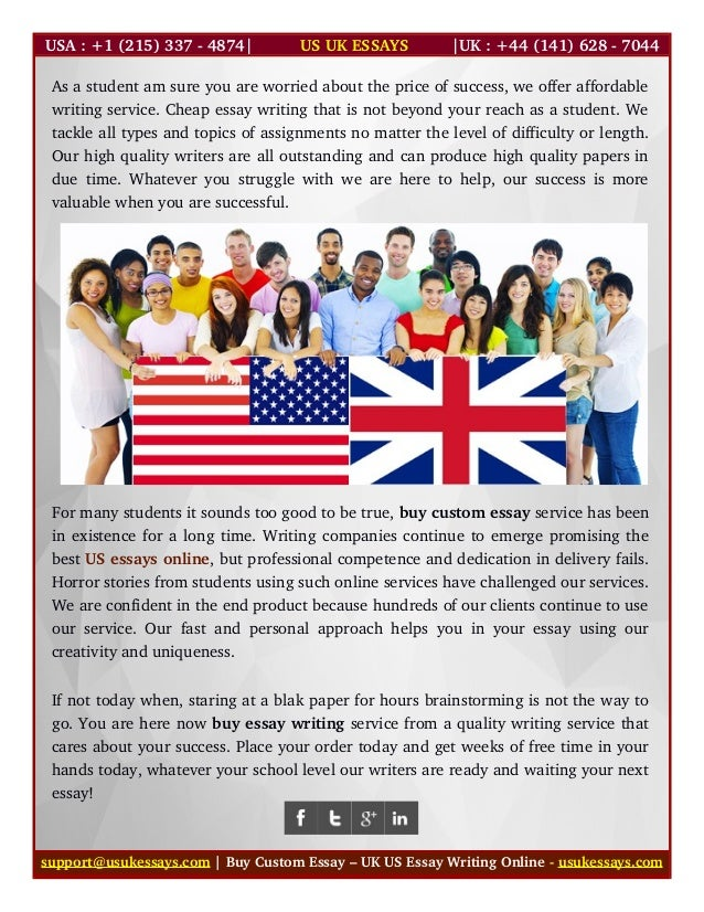 custom essay usa Our custom cheap essay writing service is glowing all around the world for keeping the reputation a usa based custom paper writing company was proudly established.