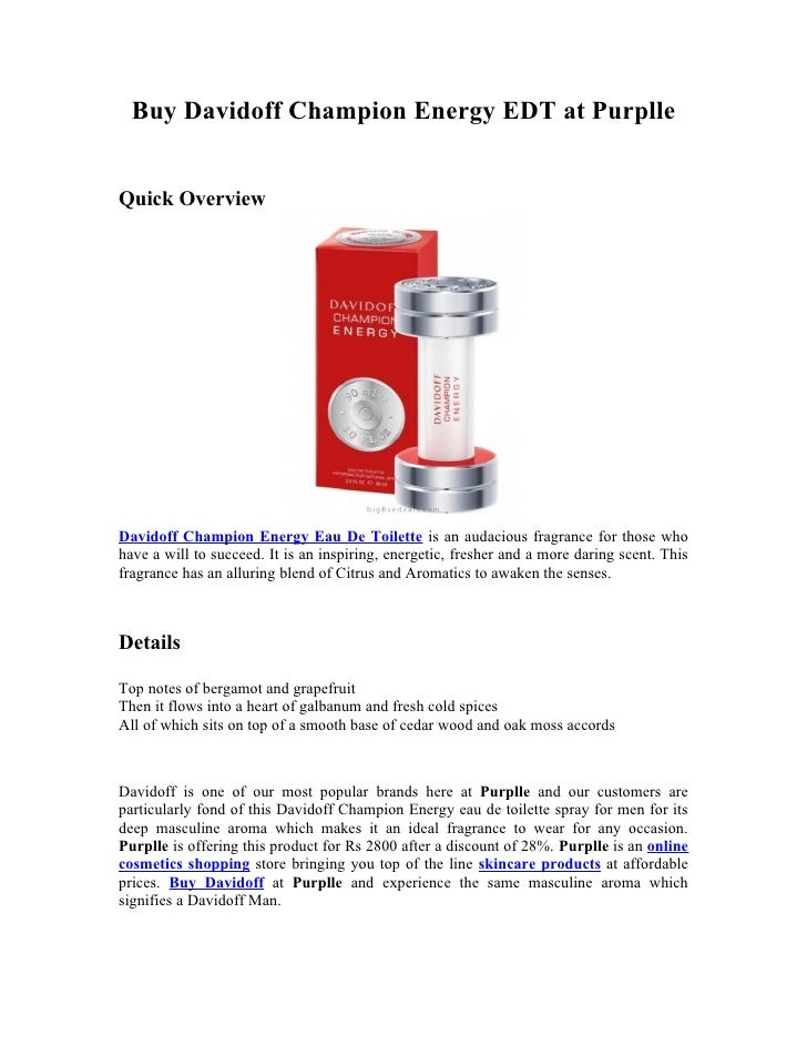 Buy Davidoff Champion Energy EDT at PurplleQuick OverviewDavidoff Champion Energy Eau De Toilette is an audacious fragranc...