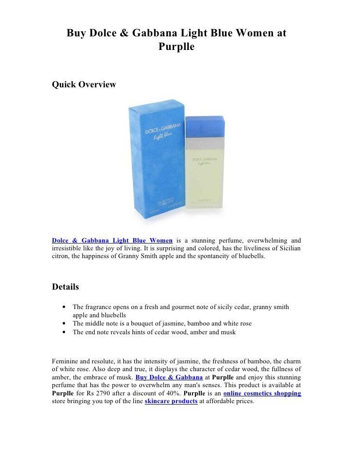 Buy Dolce & Gabbana Light Blue Women at                        PurplleQuick OverviewDolce & Gabbana Light Blue Women is a ...