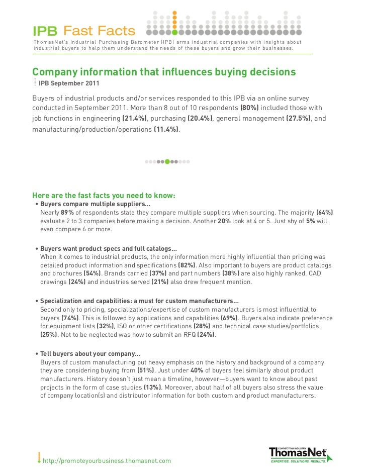 IPB Fast FactsThomasNet's Industrial Purchasing Barometer (IPB) arms industrial companies with insights aboutindustrial bu...
