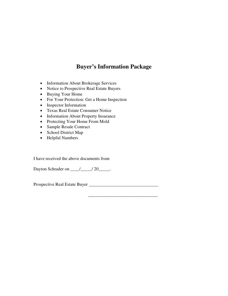 Buyer Information Package