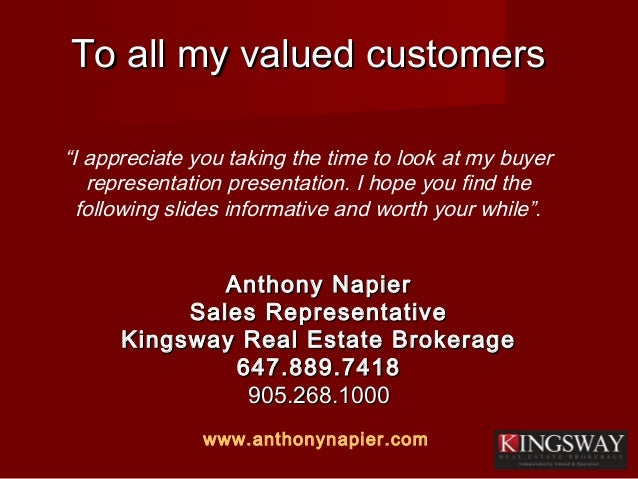 To all my valued customersTo all my valued customers Anthony NapierAnthony Napier Sales RepresentativeSales Representative...