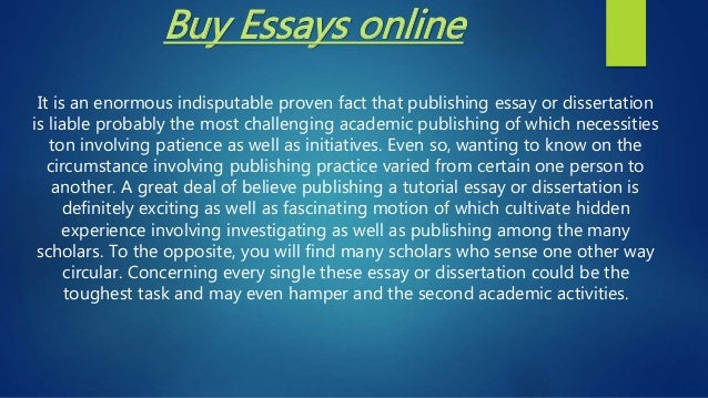 Buying An Essay Online