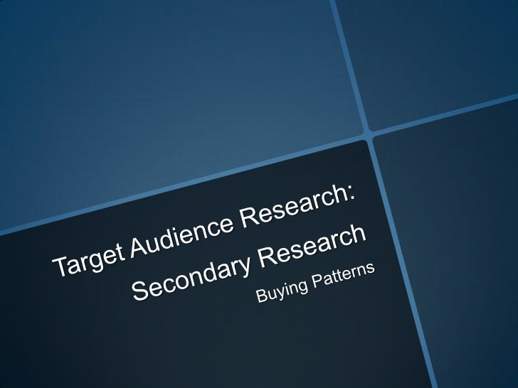 RESEARCH & PLANNING: Buying Patterns