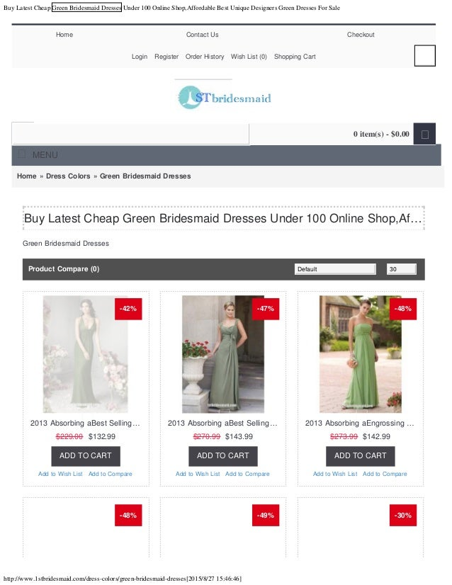 Buy latest cheap green bridesmaid dresses under 100 online for Best cheap online store