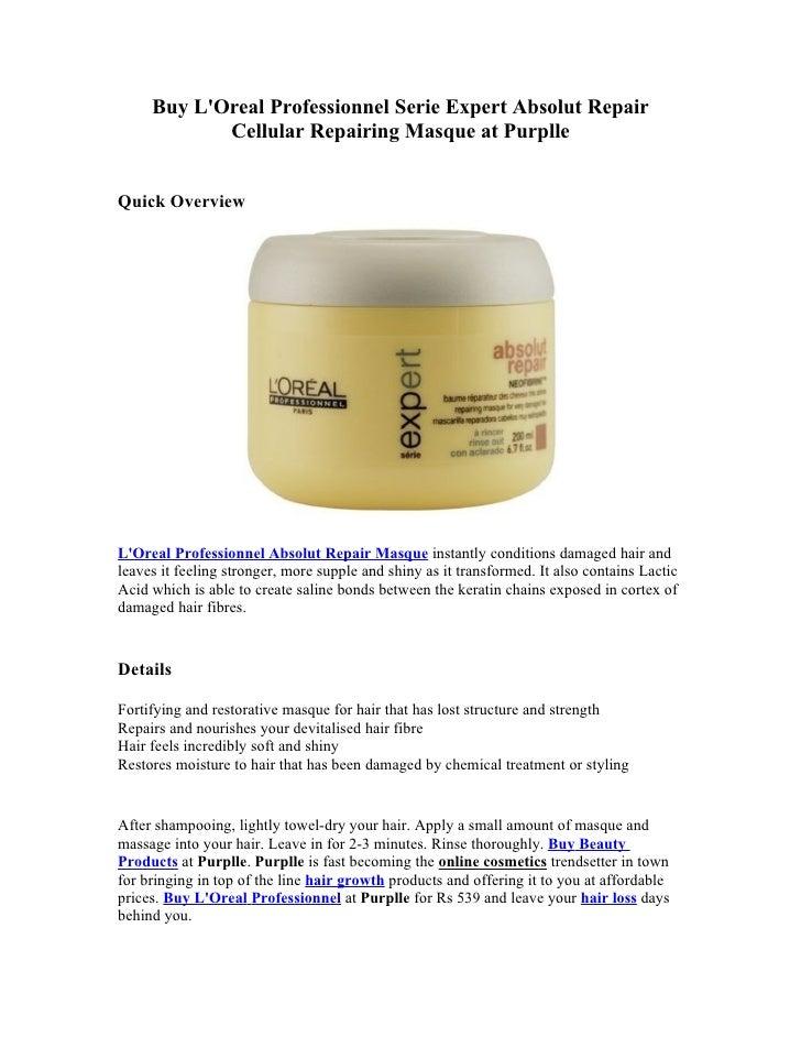 Buy LOreal Professionnel Serie Expert Absolut Repair            Cellular Repairing Masque at PurplleQuick OverviewLOreal P...