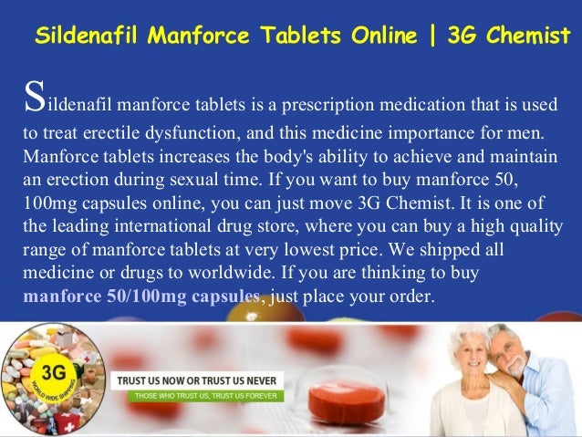 Sildenafil manforce tablets is a prescription medication that is used to treat erectile dysfunction, and this medicine imp...