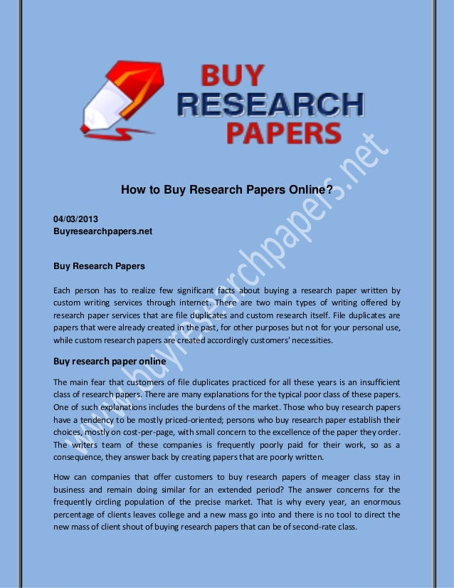 Purchase of research papers