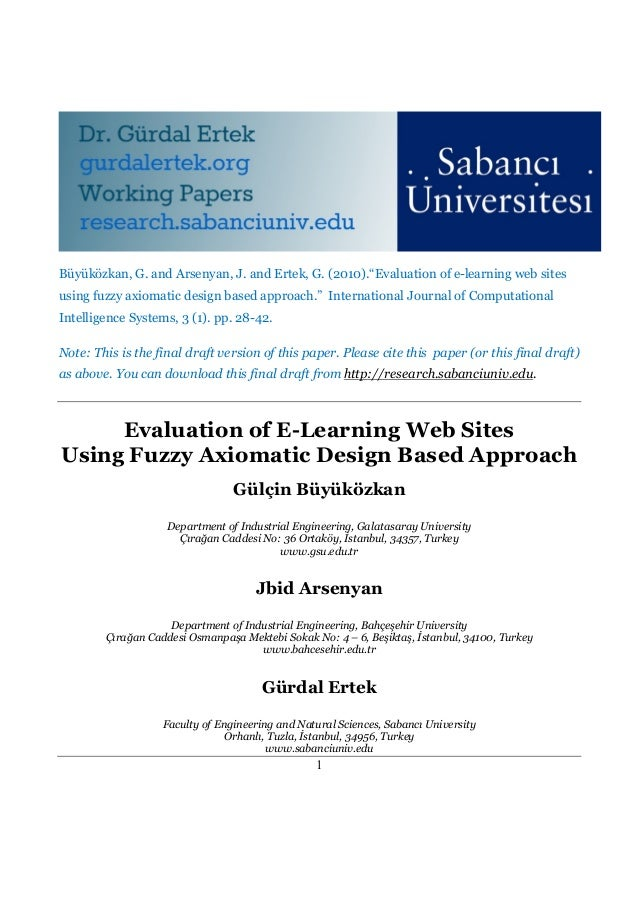 Evaluation of E-Learning Web Sites  Using Fuzzy Axiomatic Design Based Approach