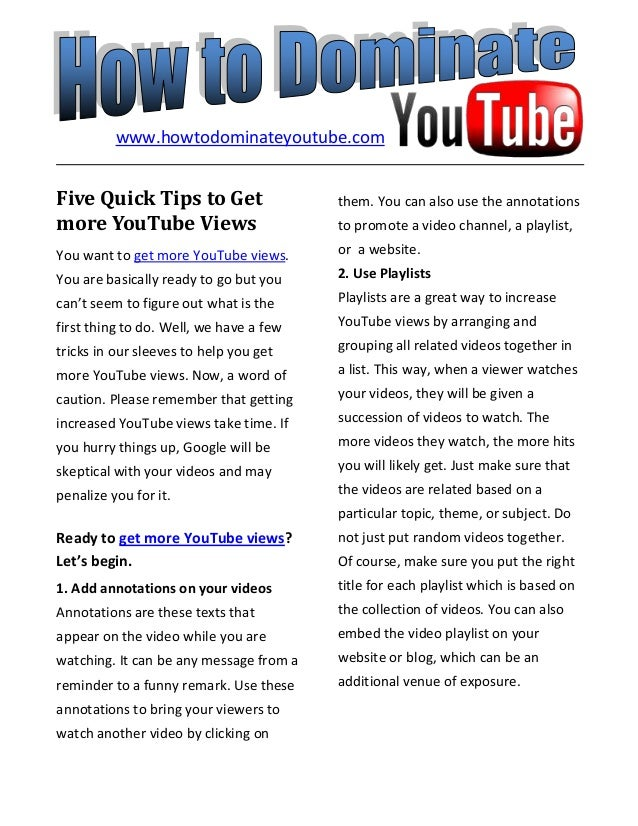 Five Quick Tips to Getmore YouTube ViewsYou want to get more YouTube views.You are basically ready to go but youcan't seem...