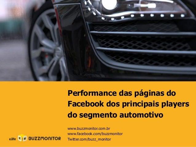 Performance das páginas do Facebook dos principais players do segmento automotivo www.buzzmonitor.com.br www.facebook.com/...