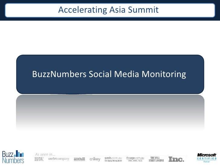 BuzzNumbers @ Accelerating Asia Summit (Singapore Dec 2010)