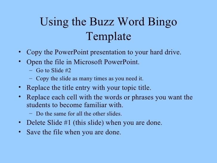 Buzzword bingo template