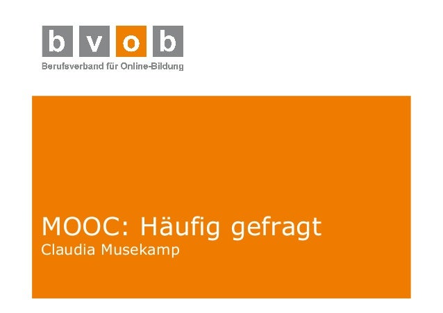MOOC: Häufig gefragt  Claudia Musekamp