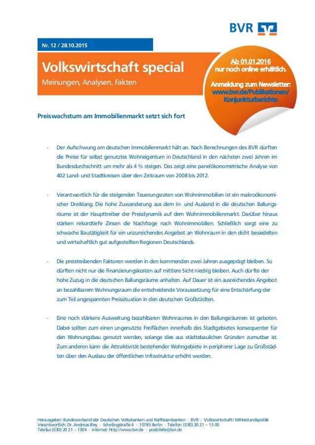 Meinungen, Analysen, Fakten Nr. 12 / 28.10.2015 Volkswirtschaft special Meinungen, Analysen, Fakten Herausgeber: Bundesver...