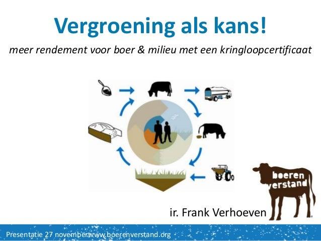 Vergroening als kans!meer rendement voor boer & milieu met een kringloopcertificaat                                       ...