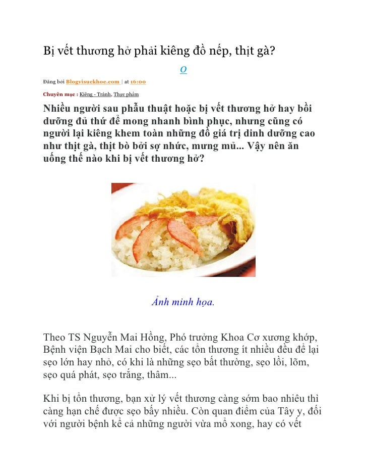 Bị vết thương hở phải kiêng đồ nếp, thịt gà?                                             0Đăng bởi Blogvisuckhoe.com | at ...