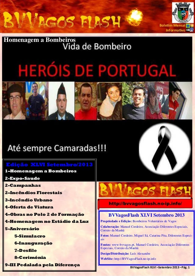 Bole m Mensal Informa vo  Homenagem a Bombeiros  Edição XLVI Setembro/2013 1–Homenagem a Bombeiros 2-Expo-Saude 2-Campanha...