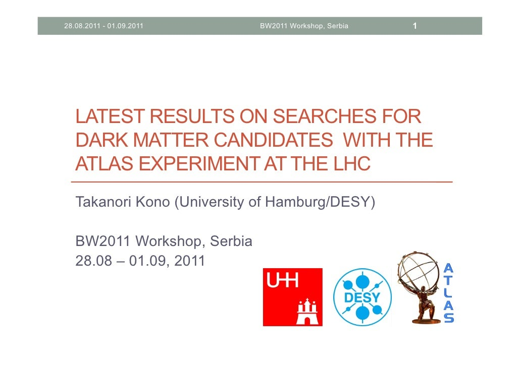 T. Kono (ATLAS) - Latest Results on Searches for Dark Matter Candidates with the ATLAS Detector at the LHC