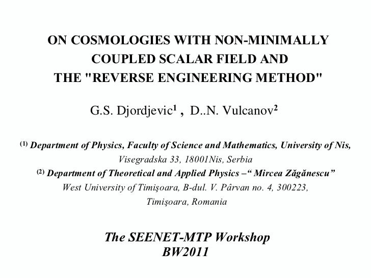 "D. Vulcanov - On Cosmologies with non-Minimally Coupled Scalar Field and the ""Reverse Engineering Method"""