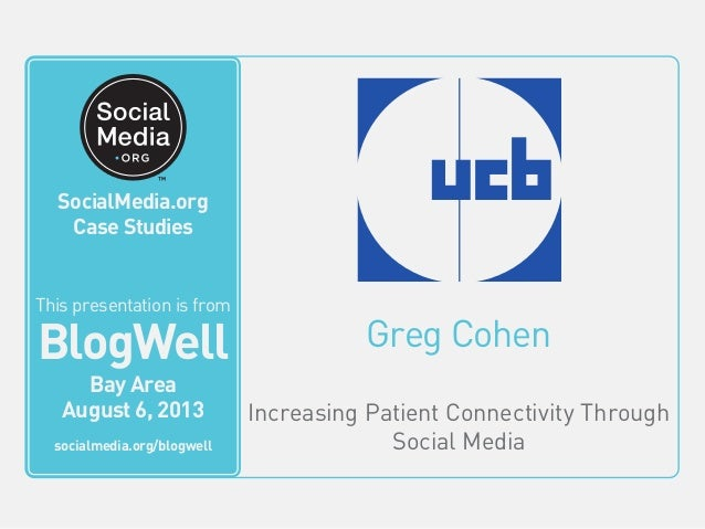 Greg Cohen Increasing Patient Connectivity Through Social Media This video is from BlogWell San Francisco June 20, 2011 so...