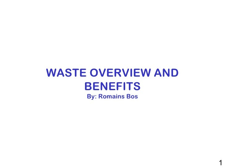 WASTE OVERVIEW AND BENEFITS By: Romains Bos