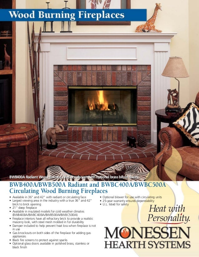 BWB400A Radiant Wood Burning Fireplace shown with optional brass bifold doors. BWB400A/BWB500A Radiant and BWBC400A/BWBC50...