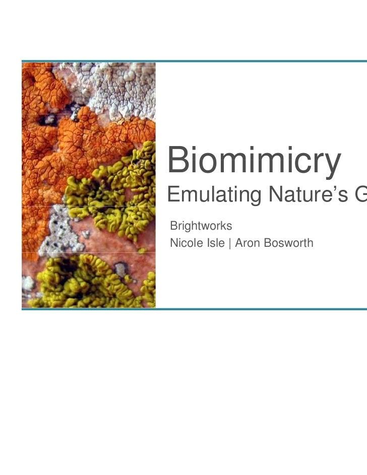 BiomimicryEmulating Nature's GeniusBrightworksNicole Isle | Aron Bosworth