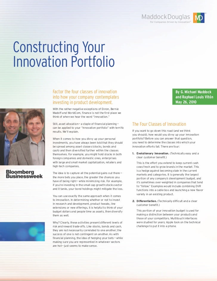 Constructing YourInnovation Portfolio       Factor the four classes of innovation                                         ...