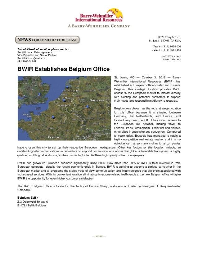 BWIR Establishes Belgium Office