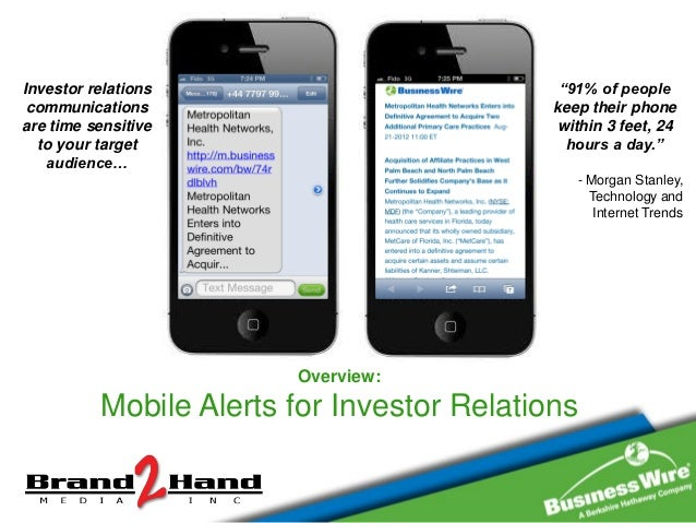 """Investor relations                           """"91% of people communications                             keep their phoneare..."""