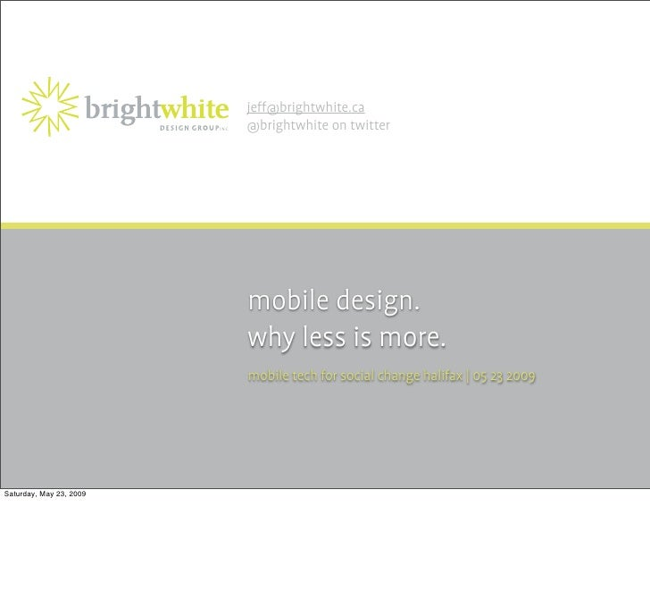 Mobile Web Design. Less is More