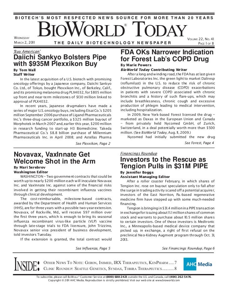 BIOTECH'S MOST RESPECTED NEWS SOURCE FOR MORE THAN 20 YEARSWEDNESDAY                                                      ...