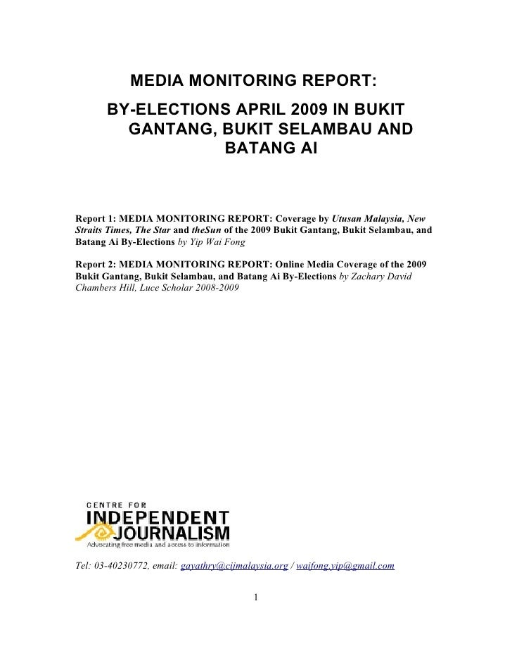 Malaysia: A monitoring on the press reporting of the triple by-elections in April 2009