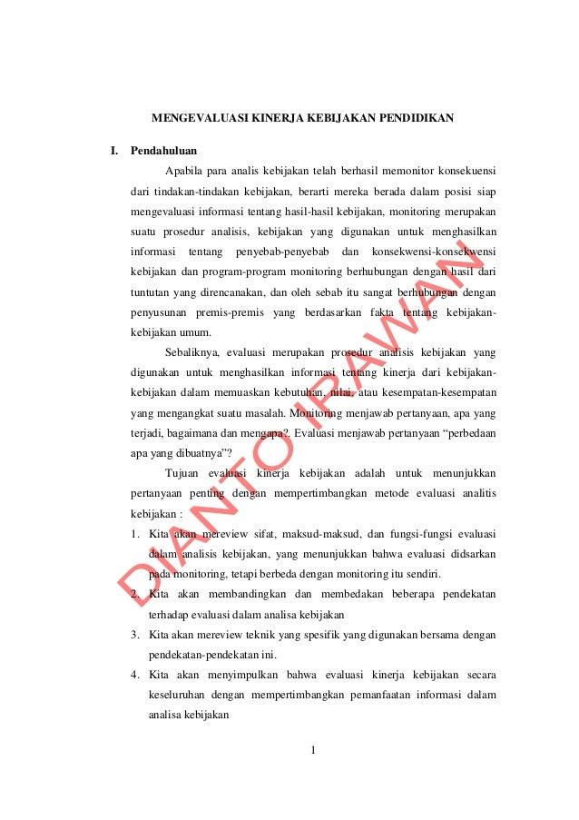 makalah mengevaluasi kinerja kebijakan pendidikan